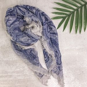 Lucky Brand Blue & White Paisley Fringe Scarf